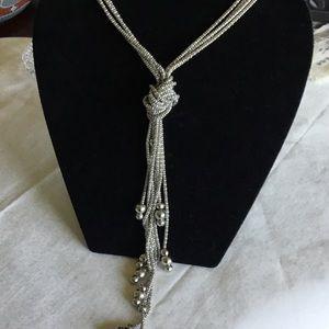 Long Silvertone Triple Strand Tassel Necklace